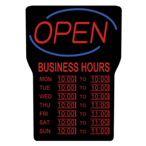 LED Open Sign with Business Hours